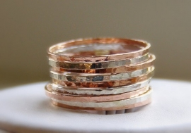 STAPELRINGEN, aanschuifringen, VAN ROSE GOLD FILLED EN STERLING ZILVER