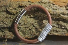 Lederen & aluminium persoonlijke tekst armband met jouw naam, quote, datum