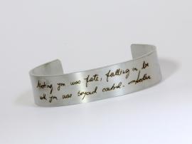 Roestvrijstalen armband met je eigen handschrift of handtekening, herinneringssieraad