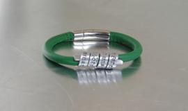 Gepersonaliseerde Lederen en Aluminium Tekst Armband voor Dames en Heren, SMARAGD GROEN