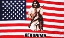 Vlaggen Amerika met Geronimo Indiaan