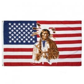 Vlag Amerika,  Indiaan met pijp 90x150cm.
