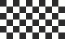 Geblokte supporter svlag zwart/wit 90 x 150