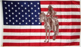 Vlag Amerika - Indiaan met Speer te paard