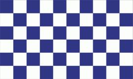 Geblokte supporters vlag blauw/wit 90 x 150