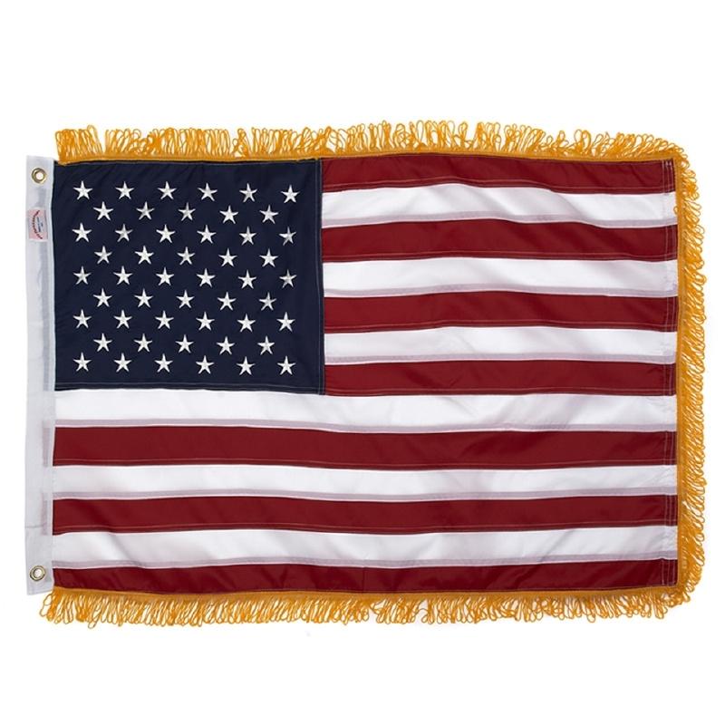 Amerikaanse vlag met Opgelegde Geborduurde Sterren + franjes
