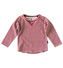 Boys raglan shirt red grey stripe, Little Label