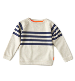 Boys sweater big stripe off white melee, Little Label