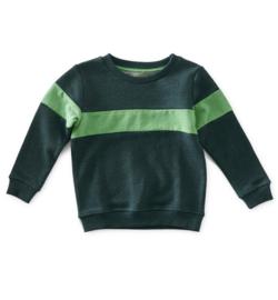 Boys sweater contrast green mel, Little label