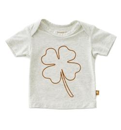 Baby shirt korte mouw big brown clover, Littlel label