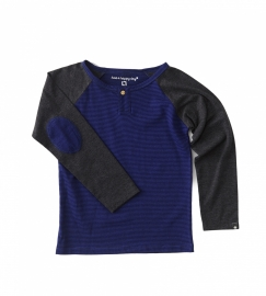 Boys Henley Shirt  small blue black stripes, Little Label