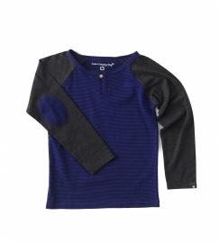 Boys Henley Shirt  small blue black stripes, Little Label