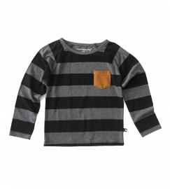Boys Raglan Shirt big grey/black stripes, Little Label