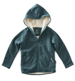 Boys fur zipped hoodie green me, Littel label