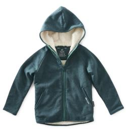 Boys fur zipped hoodie green me, Littel label
