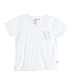 Little Label v neck shirt off white slub kids