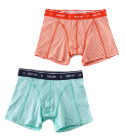 Boxershorts  greenblue hatch & orange-red hatch (2-pack), Little label