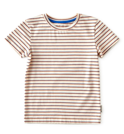 Boys T Short Sleeve Blue Orange Stripe, Little Label