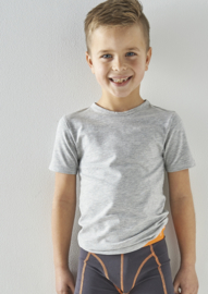 Boys t-shirt v-neck grey melee, Little label