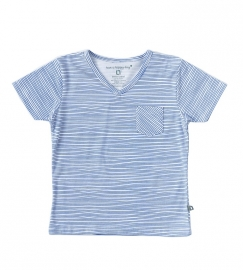 Little Label v neck shirt ocean blue stripes kids