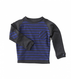 Sweater Boys with contrast antra/blue stripes, Little Label