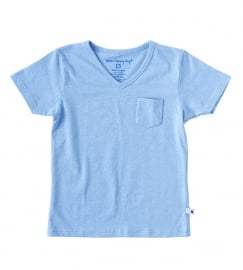 Little Label v neck shirt blue melee kids