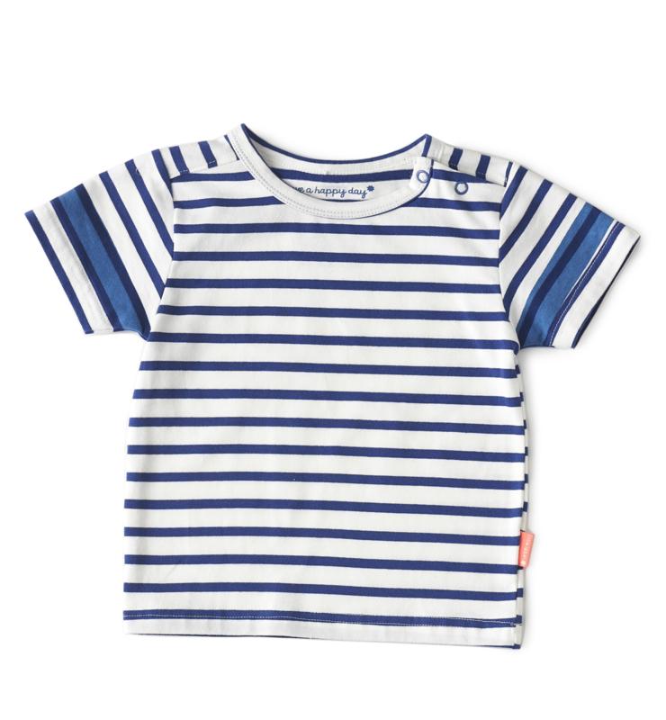 Boys tee round neck blue white stripe, Little Label