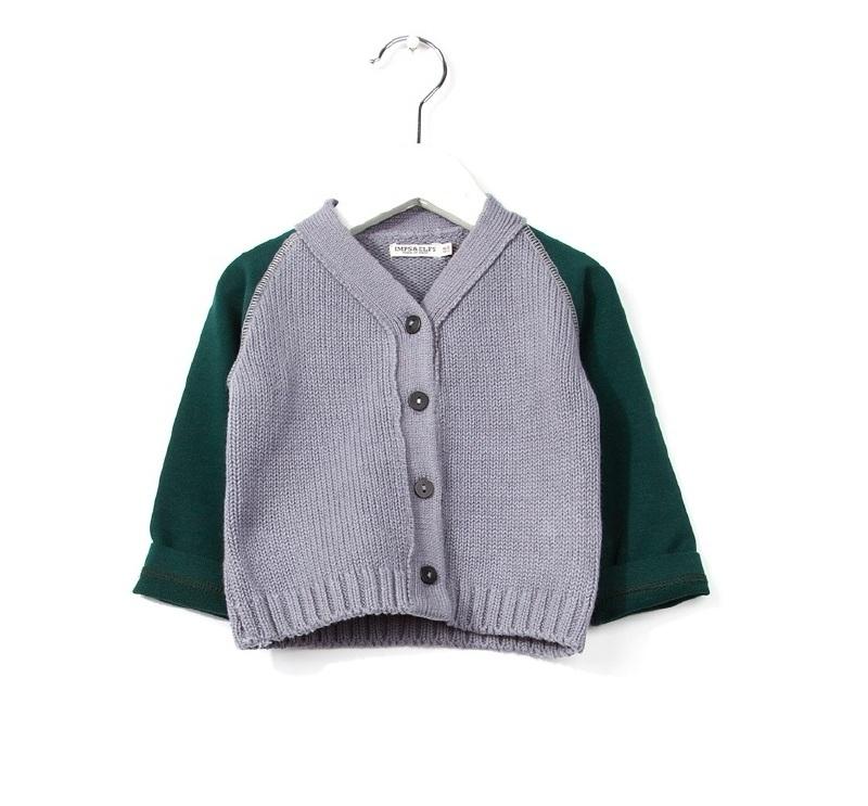 Imps&Elfs Cardigan Long Sleeve Dusk/Farmer Green