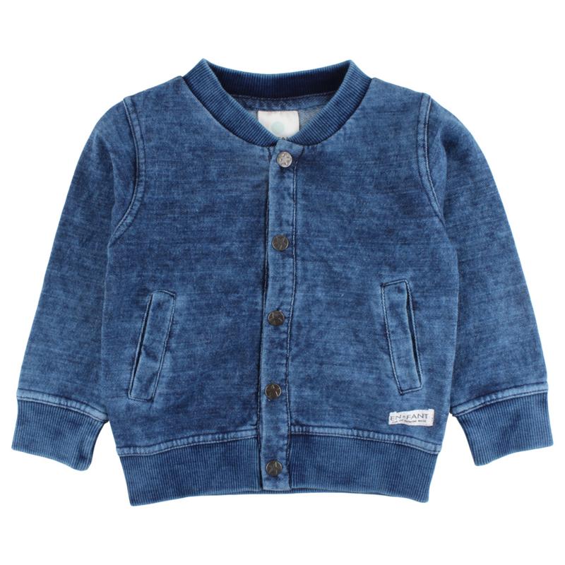 Ink Cardigan-Oekotex Indigo Blue, Enfant