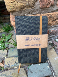 Tweed notebook Visgraat Zwart/Mosgroen