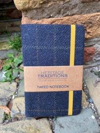 Tweed notebook Antraciet / Mosterd ruit