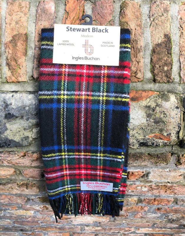 Lamswollen das Stewart Black ruit