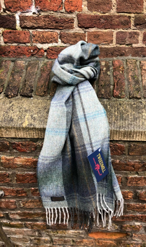 Lamswollen sjaal Country Check Grey/Blue