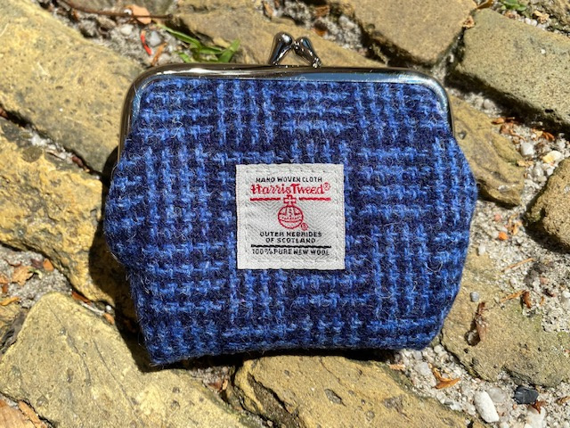 Harris Tweed portemonnee Blue Basket Weave