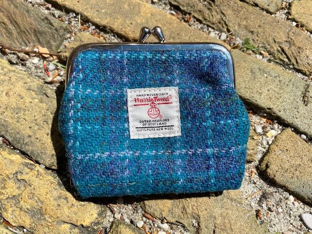 Harris Tweed portemonnee Sea Blue check