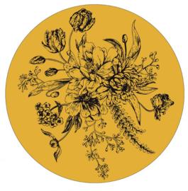 Muurcirkel bloemen okergeel 30 cm.