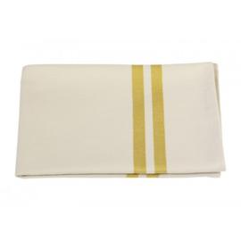 Theedoek katoen geel met banderol