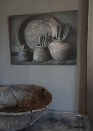Deco bord 2 stenen keuken potten XXL 60 x 80 cm