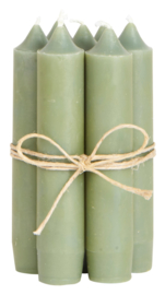 Short dinner candle olive green