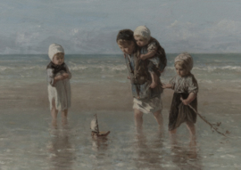 Prent kinderen aan zee