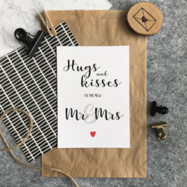 Kaart - Hugs and kisses to the new Mr & Mrs