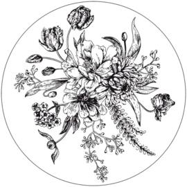 Muurcirkel bloemen 30 cm.