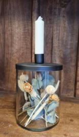Glass f/short candle metal cover incl. droogbloemen