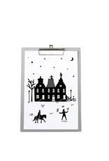 Poster met Sinterklaas huisjes op grijsboard