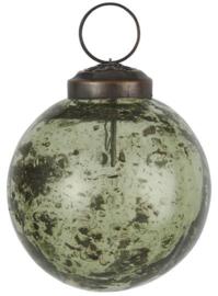 Christmas ornament pebbled glass moss green