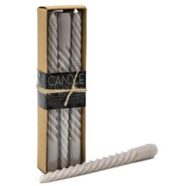 Candle Junkie doosje spiraalkaarsen grijs (6 stuks)