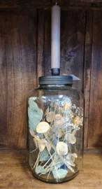 Vintage pot met kandelaar incl. droogbloemen