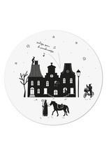 Muurcirkel wit Sinterklaas grachtenpanden