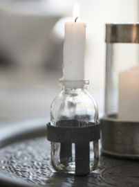 Bottle f/short candle metal stander