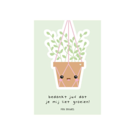 Pink Goodies / Kaart juf groeien / Plantje